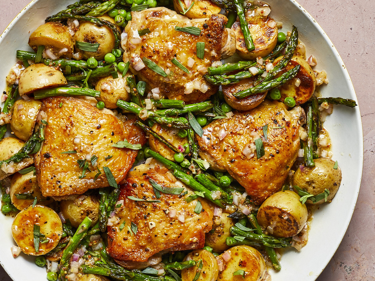 Chicken Thighs with Spring Vegetables and Shallot Vinaigrette image