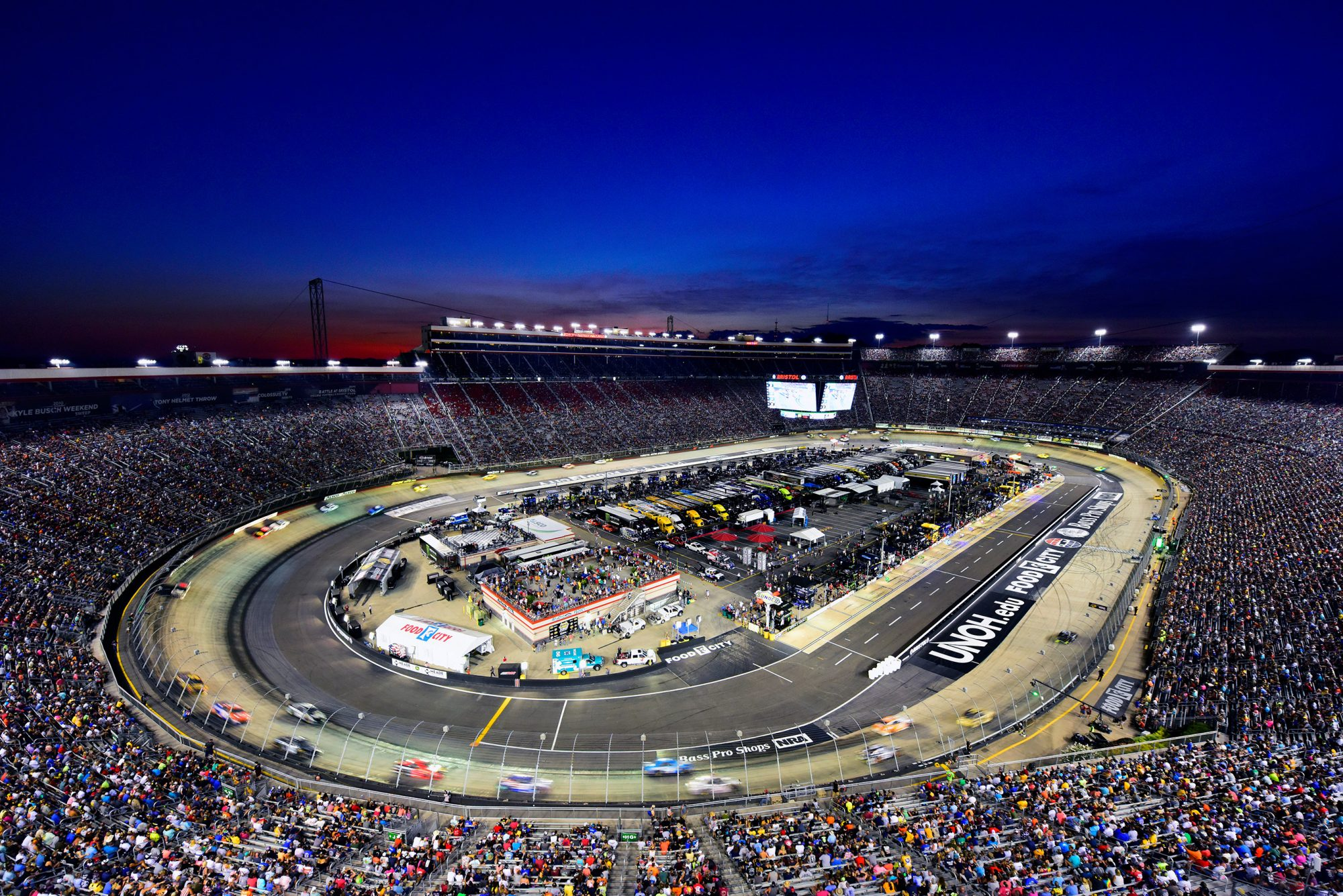 BRISTOL, TENNESSEE - AUGUST 17: A general view of the action during the Monster Energy NASCAR Cup Series Bass Pro Shops NRA Night Race at Bristol Motor Speedway on August 17, 2019