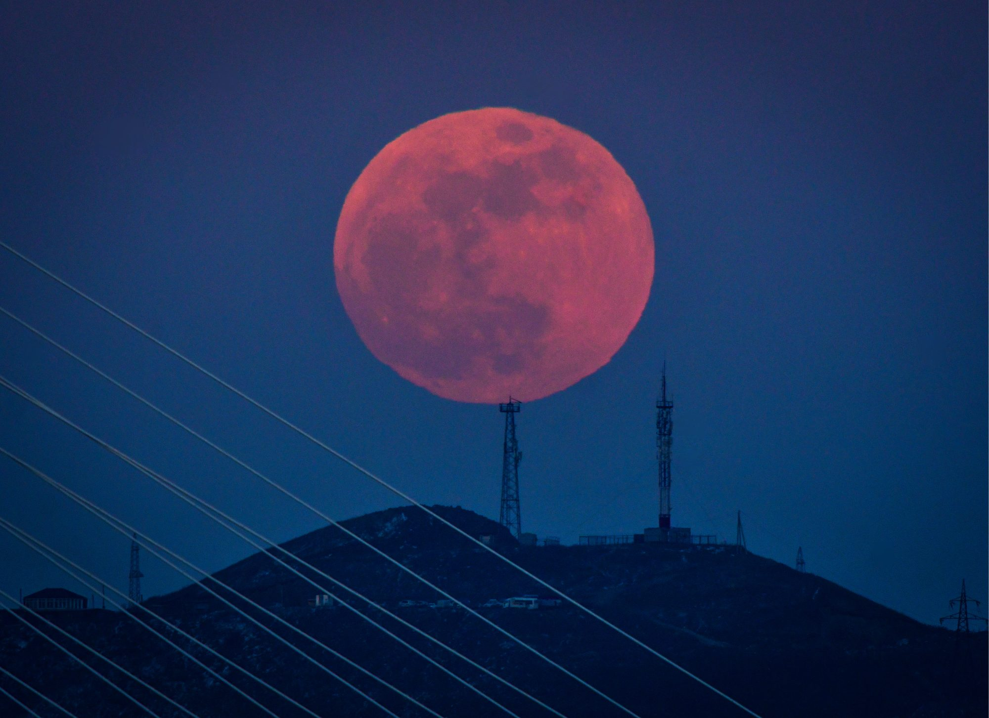 Red supermoon in Russia's Far East