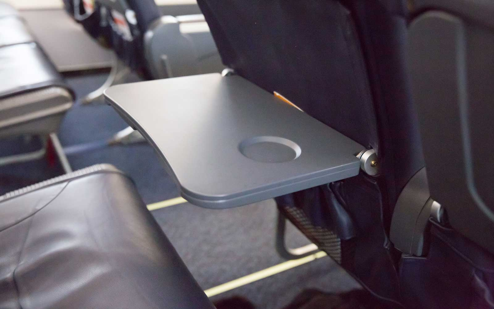 Airplane seat food tray table