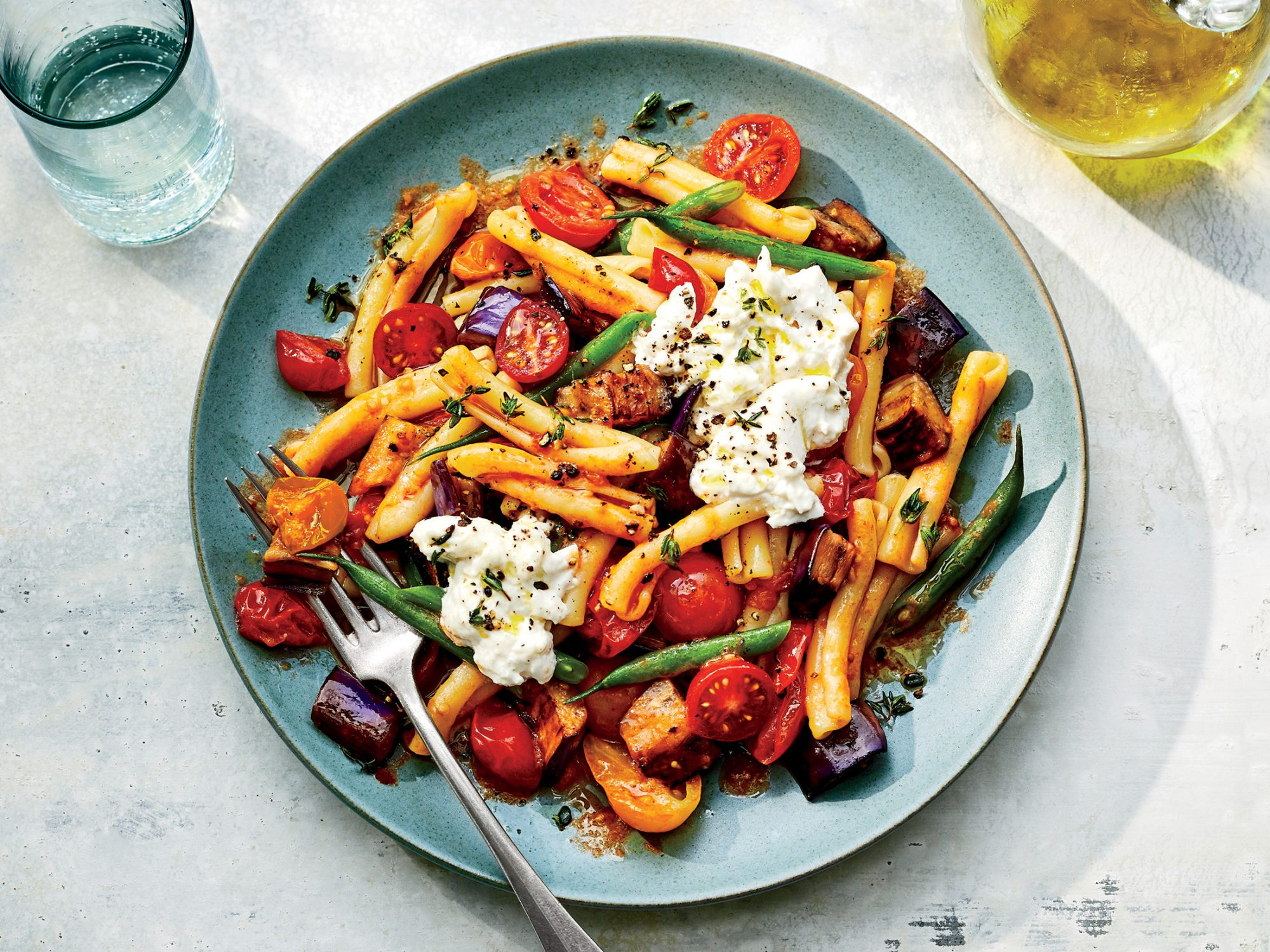 Warm Pasta Salad with Tomatoes and Eggplant