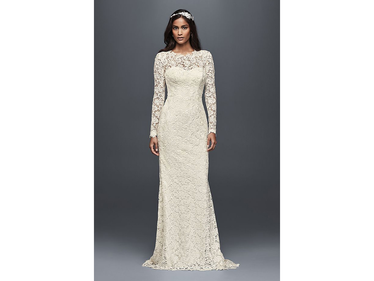 Long Sleeve Lace Wedding Dress with Open Back