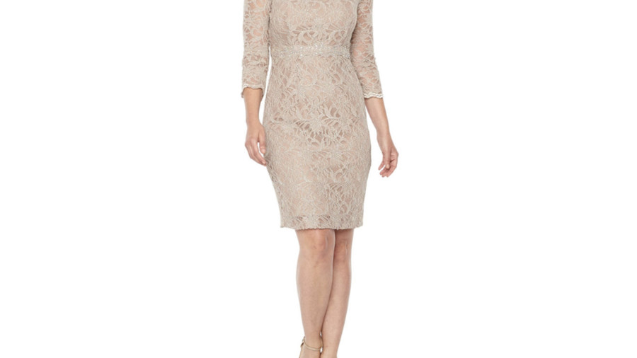 Jackie Jon 3/4 Sleeve Beaded Glitter Lace Sheath Dress