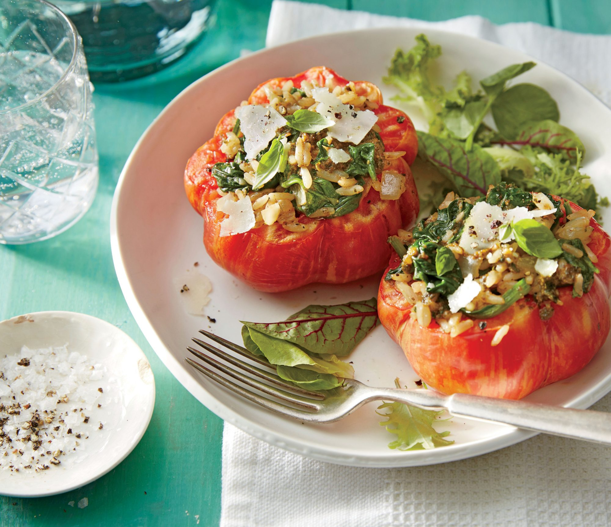 Stuffed Tomatoes with Pesto Rice