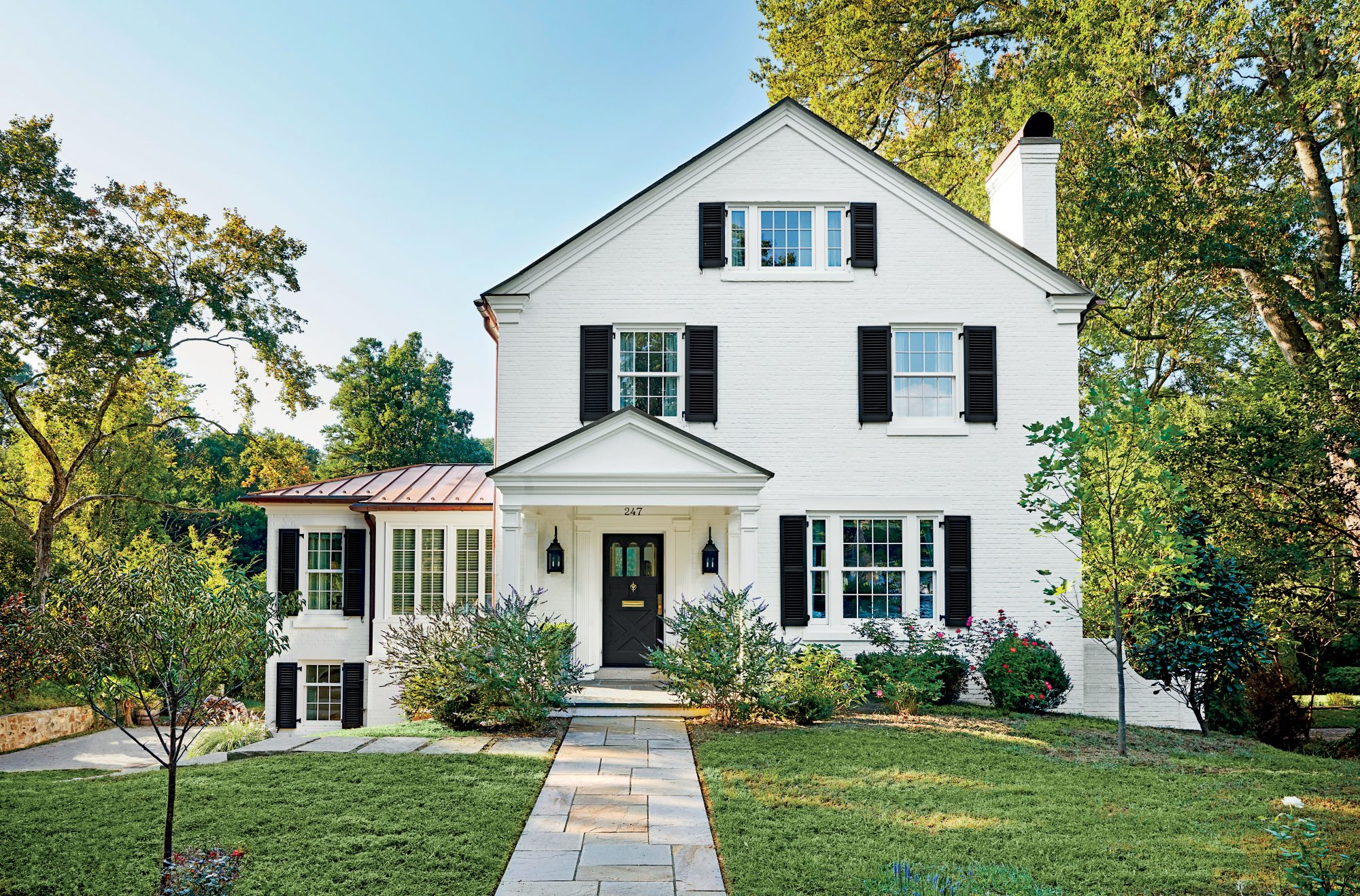 Chapel Hill House White Exterior with Black Shutters