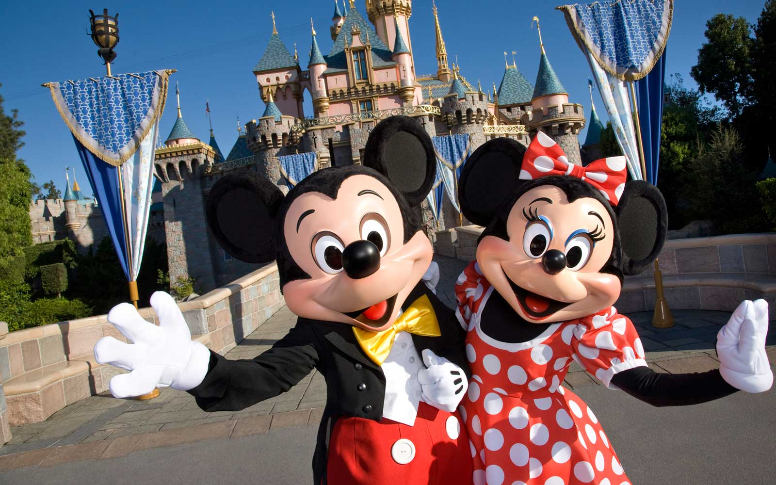 Mickey Mouse and Minnie Mouse at Disneyland Castle
