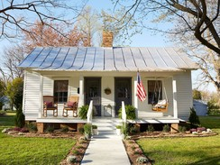 North Carolina Cotton Mill Village House Exterior with Two Front Doors and Metal Roof