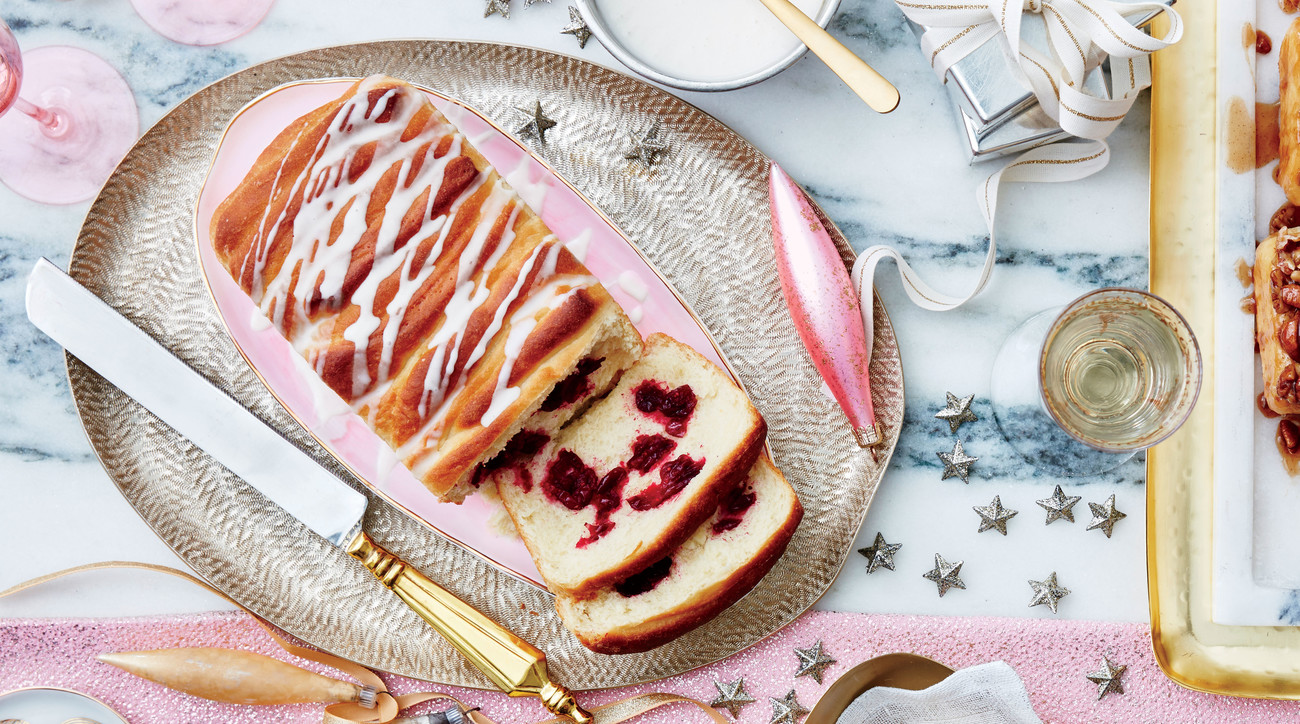 Cranberry Pull-Apart Bread with Orange-Cream Cheese Icing