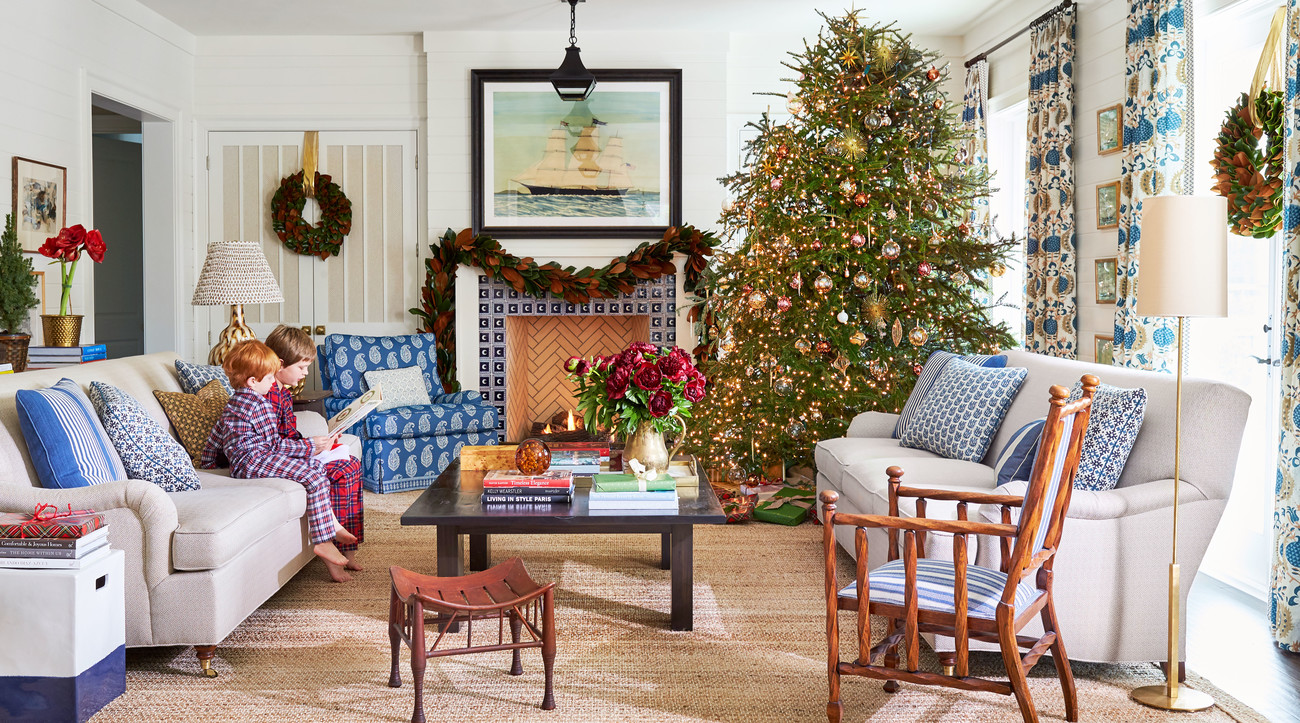 Andrew Howard Family Home Decorated for Christmas Living Room with Christmas Tree