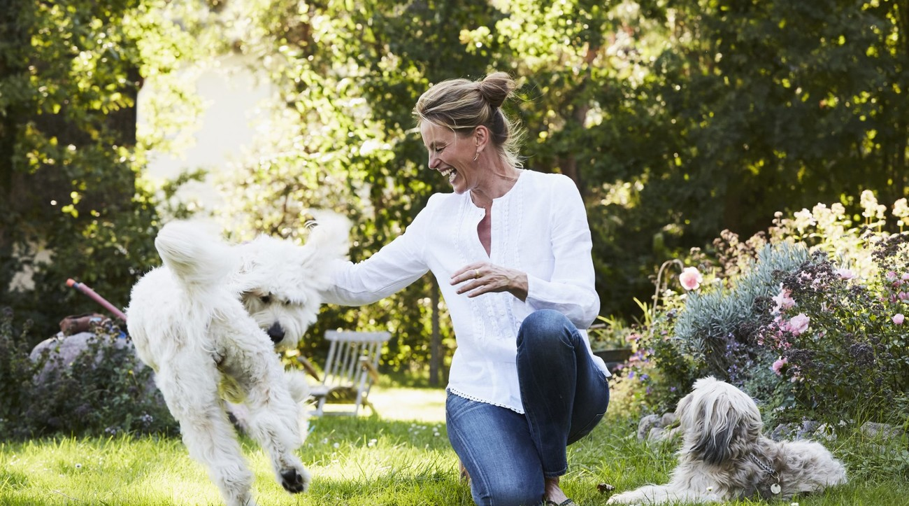 Woman Playing in Backyard With Dog