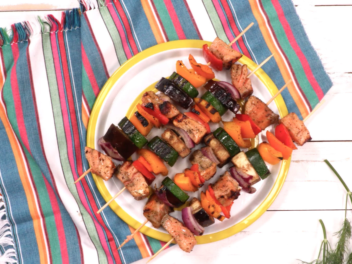Rainbow Greek Salmon Kabobs