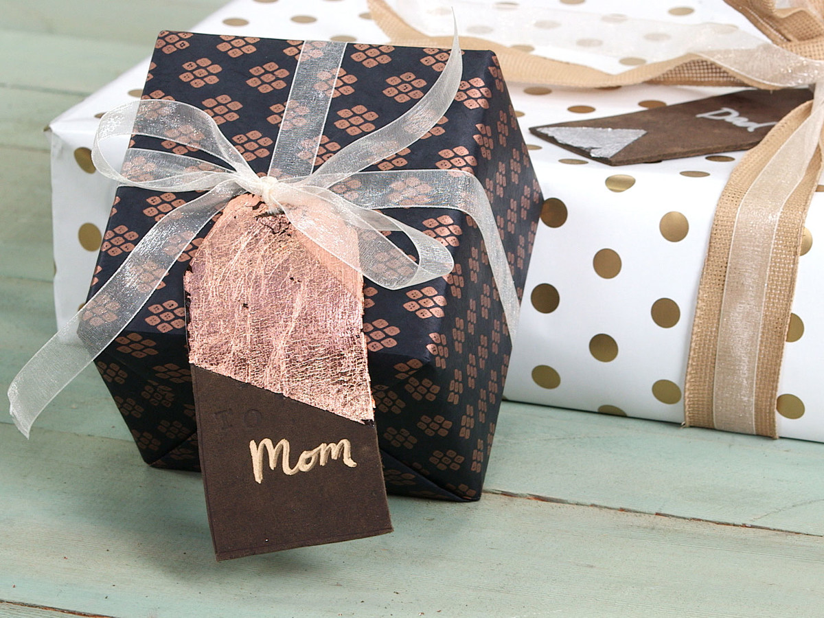 Gold Leaf Leather Gift Tags Still