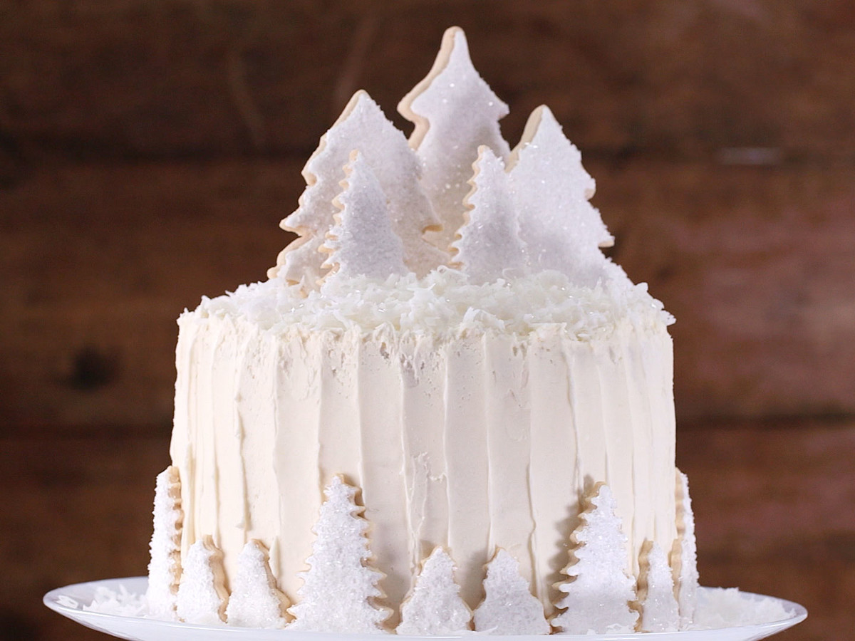 White Cake Christmas Tree Garnish Still