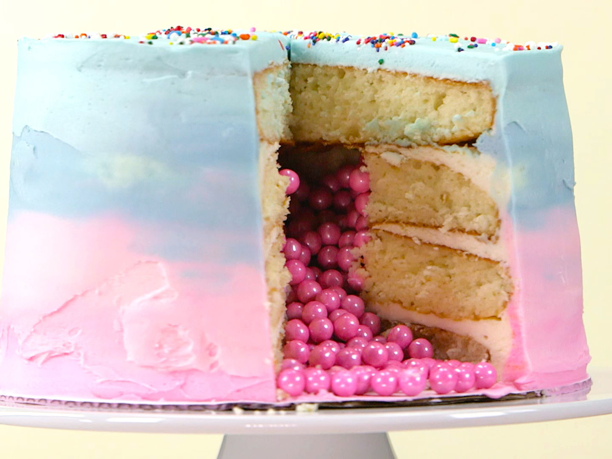 Ombre Gender Reveal Cake Still
