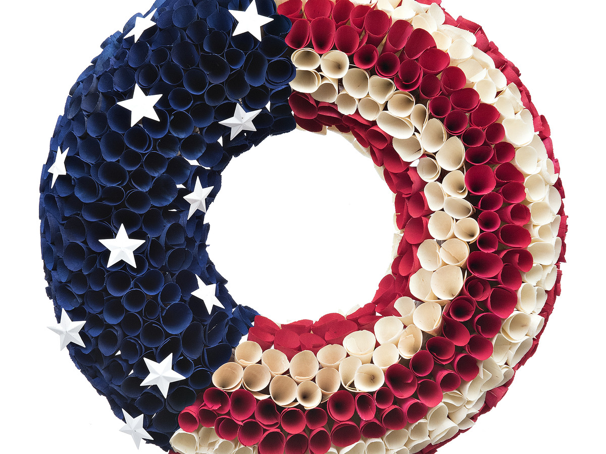 Round Woodchip Flag Wreath, $24.99