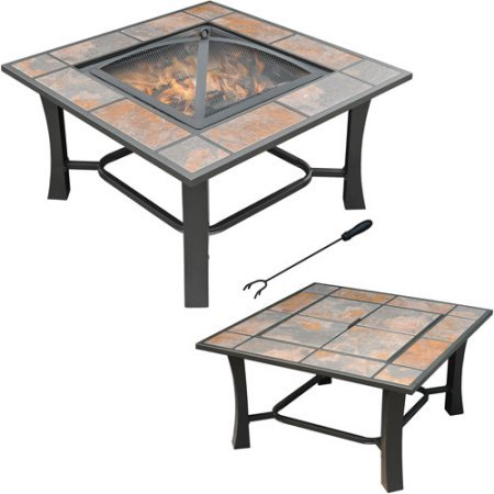Axxonn 2-in-1 Malaga Square Tile Top Wood Burning Outdoor Fire Pit/Coffee Table on Sale, Multicolor