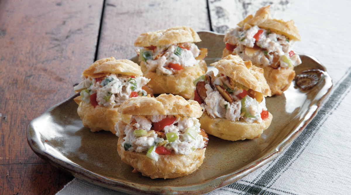 Chicken Salad Swiss Cheese Puffs