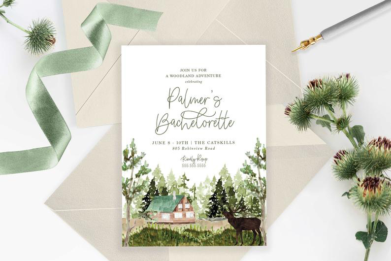 Weekend in the Woods Bachelorette Party Invitation Etsy