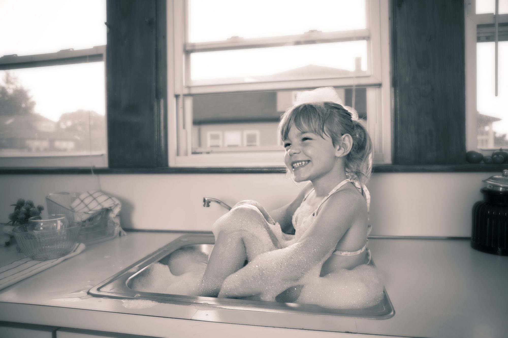 Girl in Sink Tub Vintage