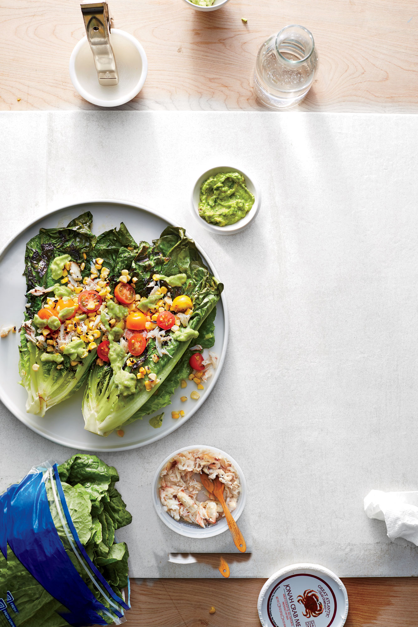 Grilled Romaine Salad with Crab