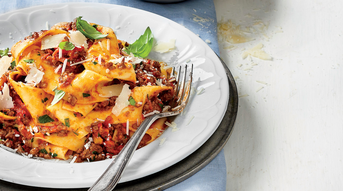 Slow-Cooker Bolognese Sauce over Pappardelle Pasta