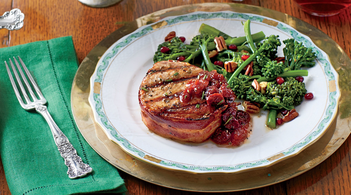 Grilled Pork Loin Steaks with Cherry-Plum Sauce