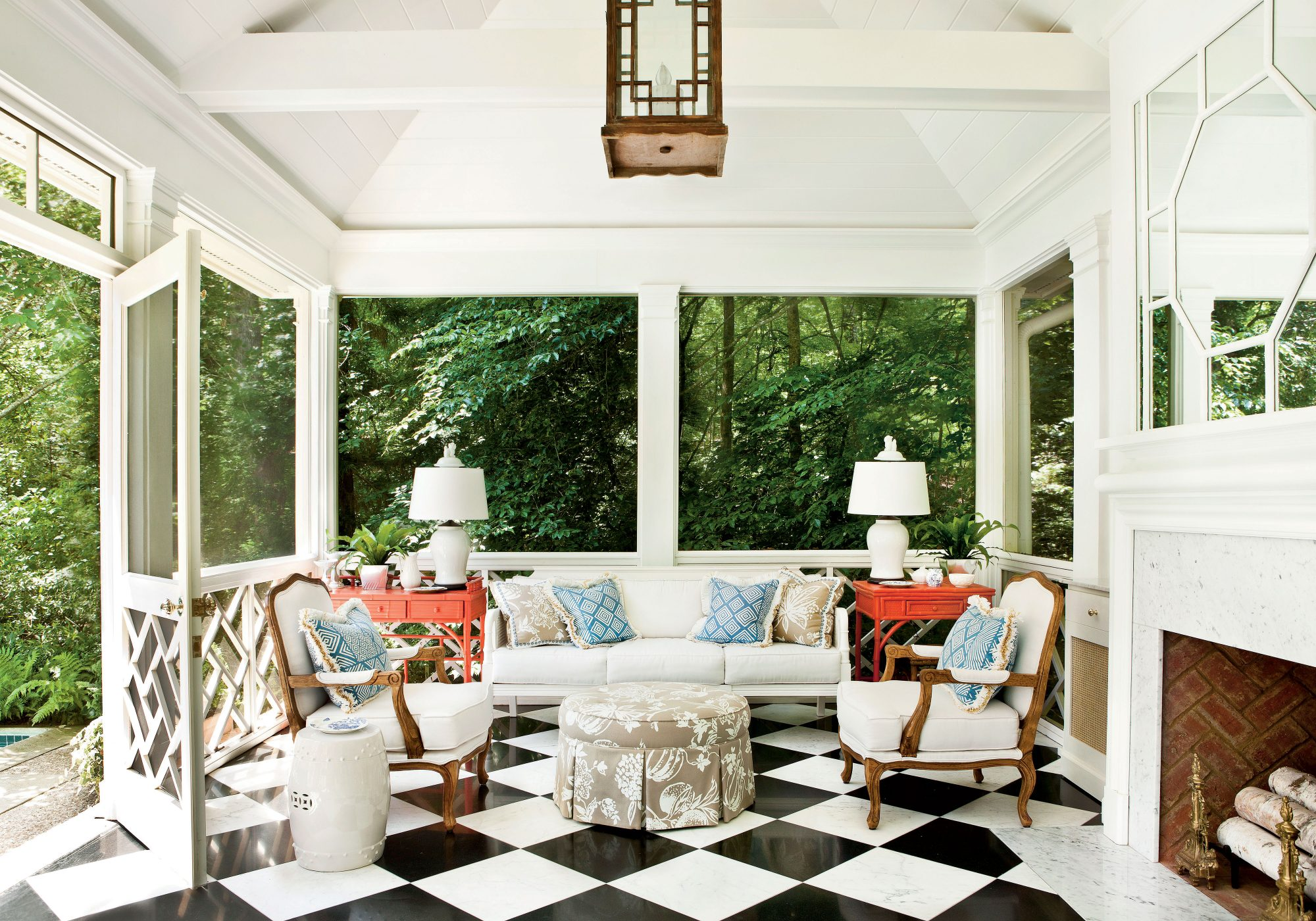 Summer House Backyard Retreat with Checkered Floor