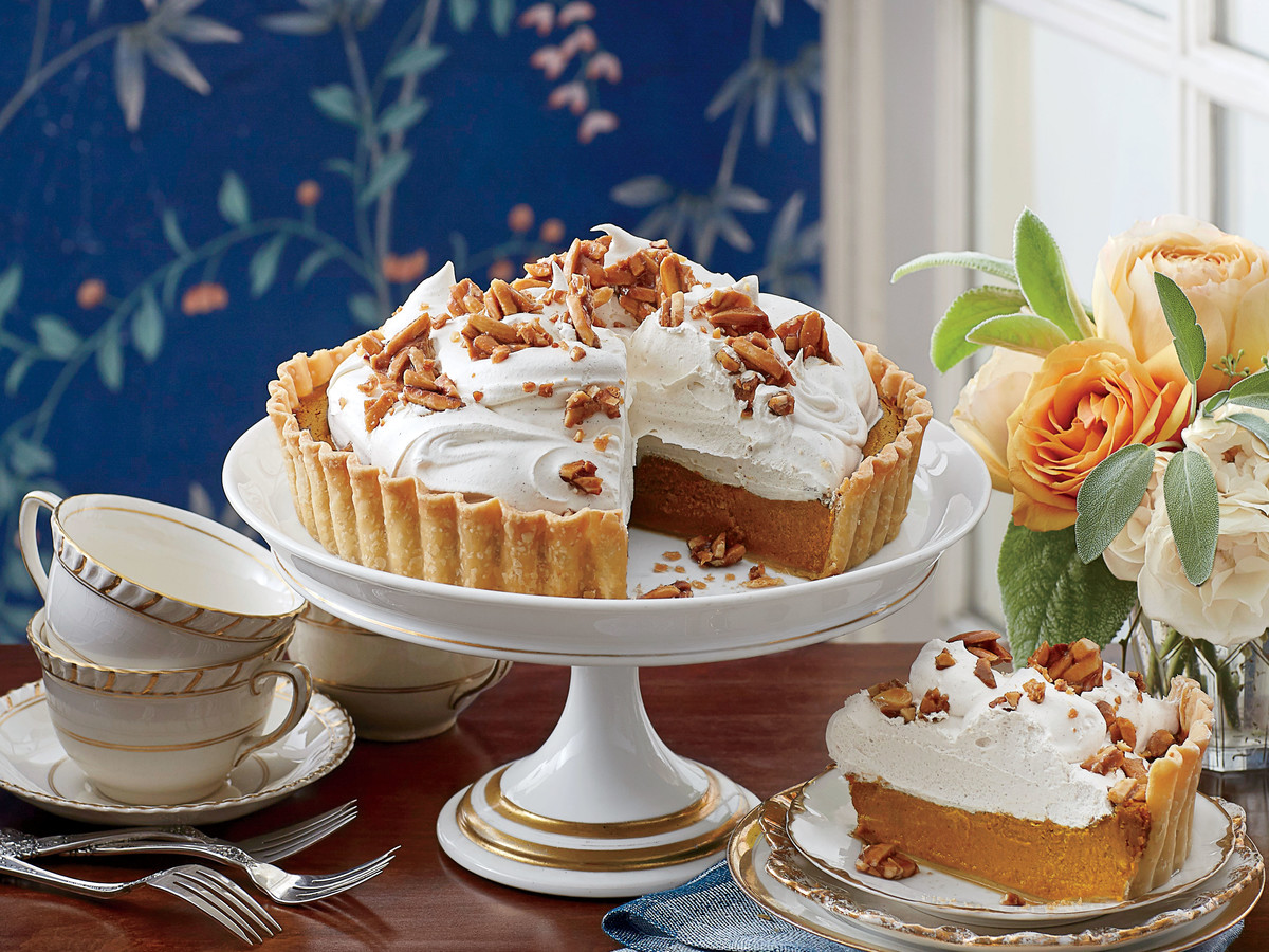 Pumpkin Tart with Whipped Cream and Almond Toffee Recipe