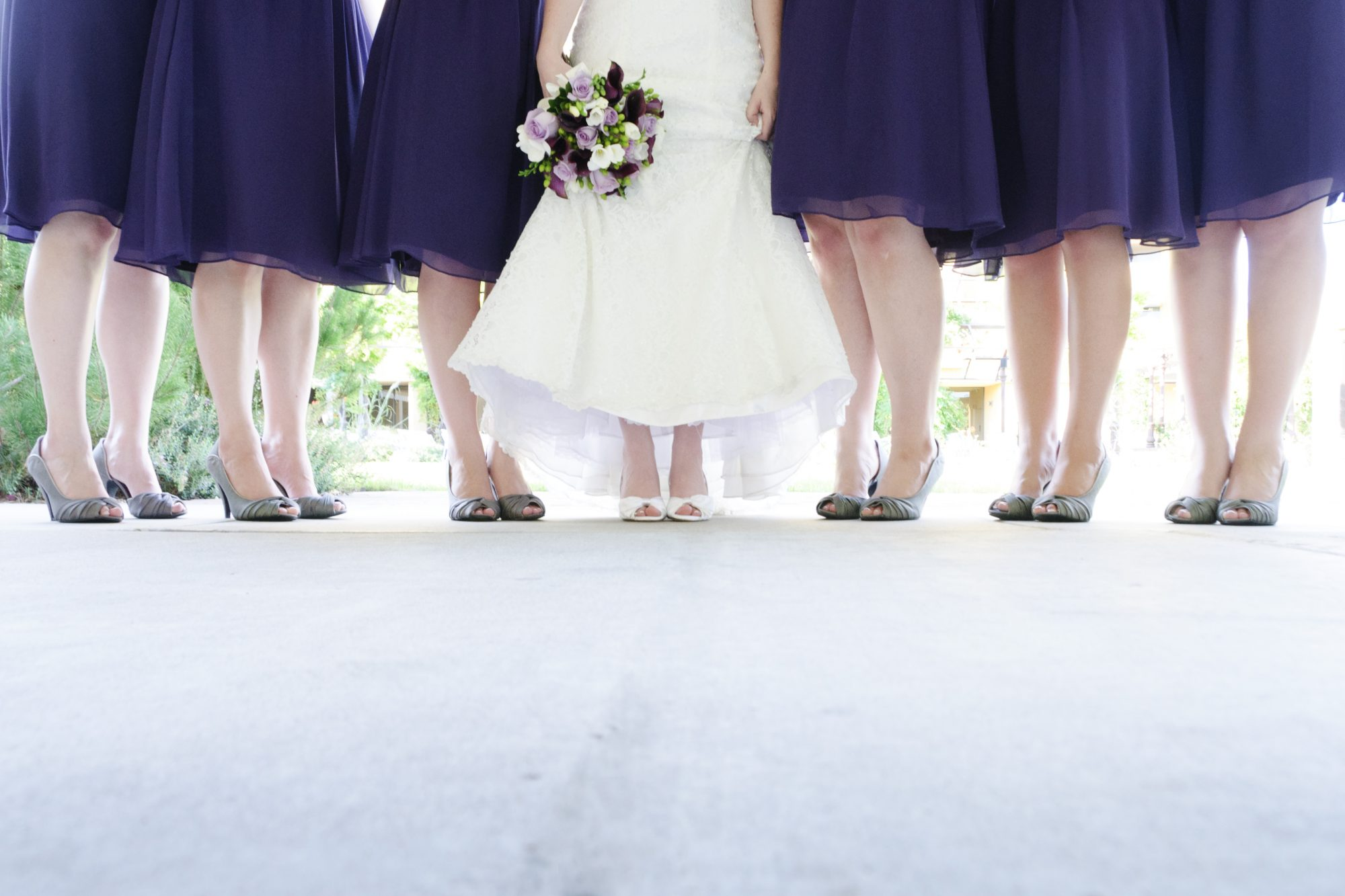 Bride and Bridesmaids Showing Shoes