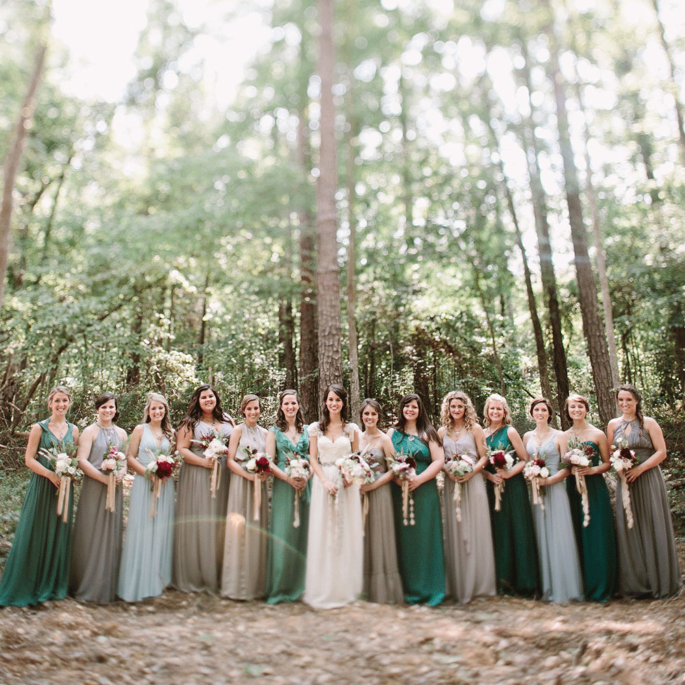 Shades of Green Bridal Party
