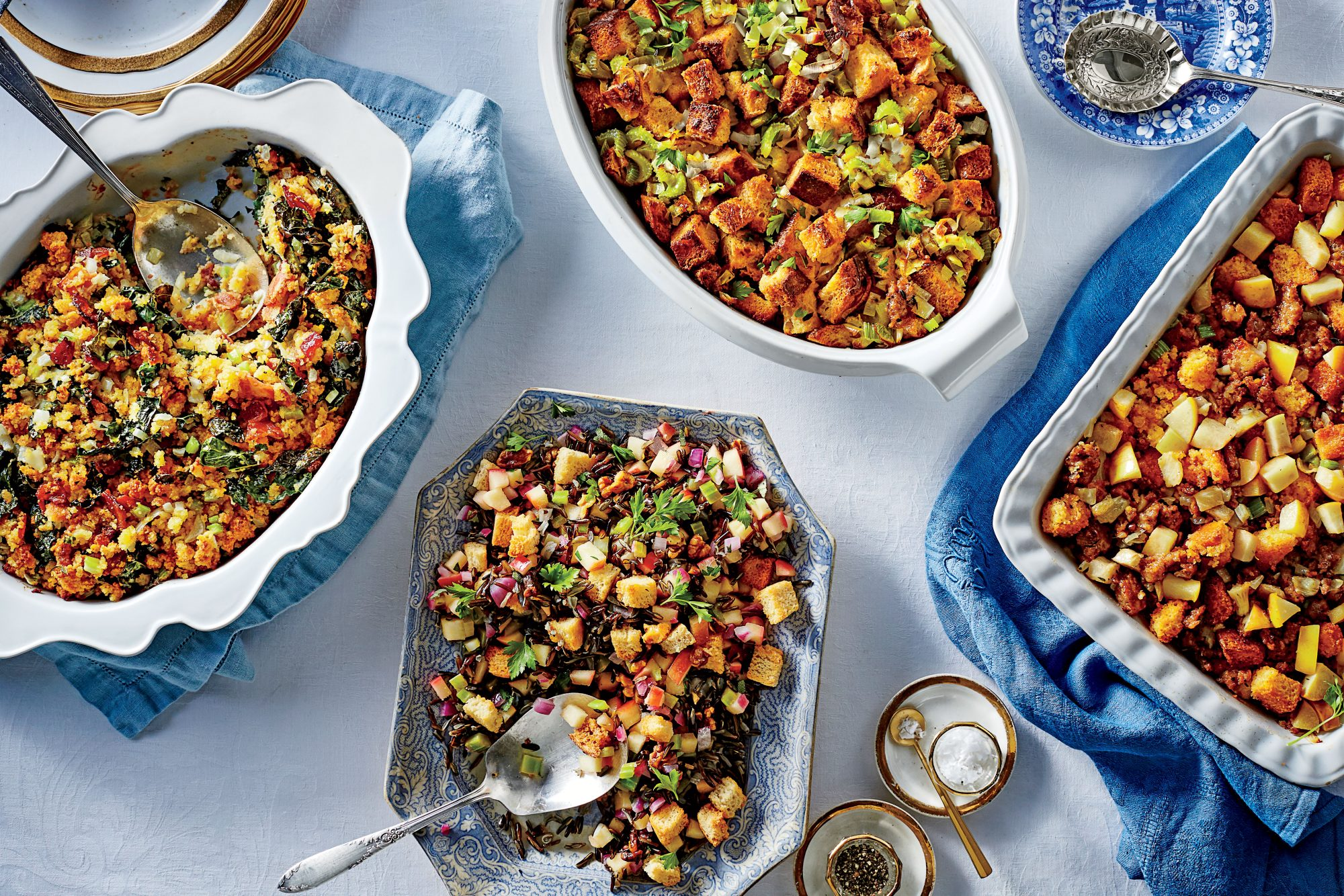 Cornbread Dressing with Kale and Bacon