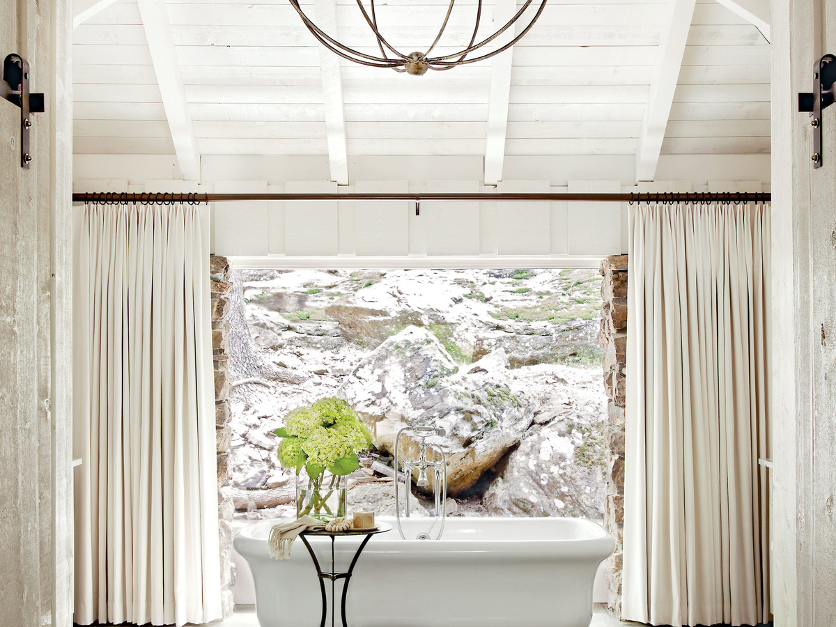 Soaking Bathtub with Rustic Bathroom