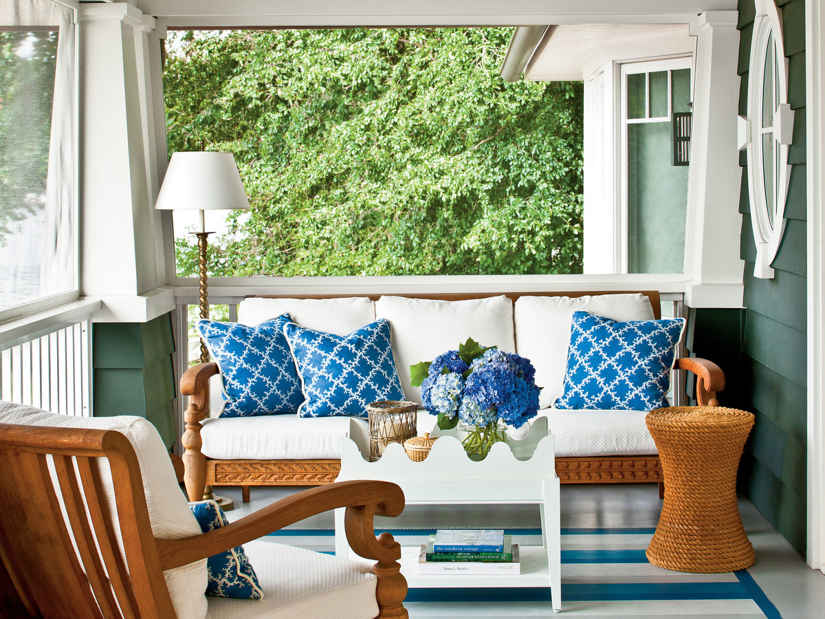 Porch with Blue Stripped Rug