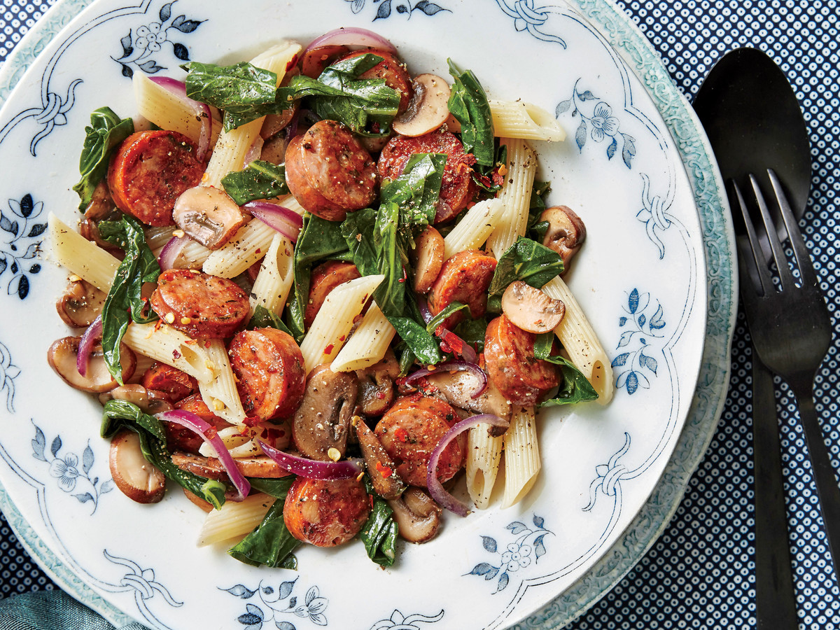 One-Pan Pasta with Chicken Sausage, Mushrooms, and Collards