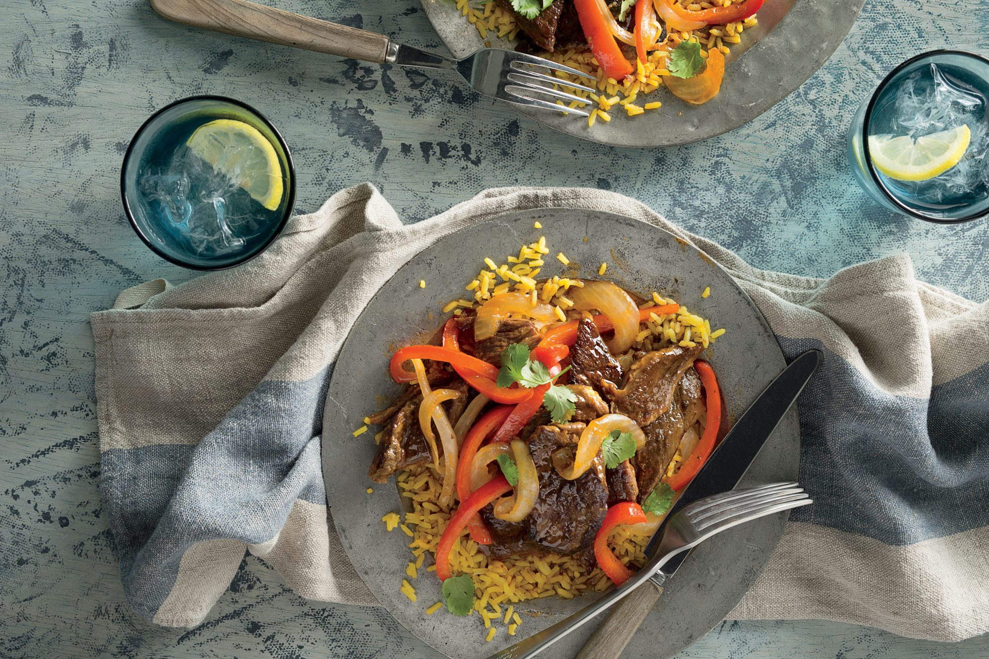 Steak and Peppers with Rice