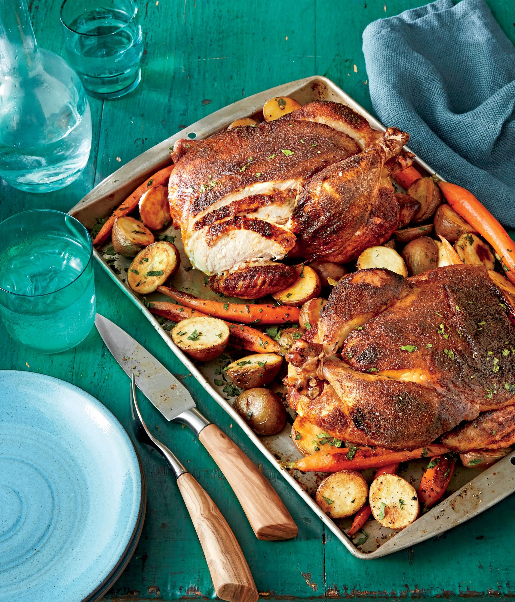 BBQ Rub Roasted Chickens with Potatoes and Carrots