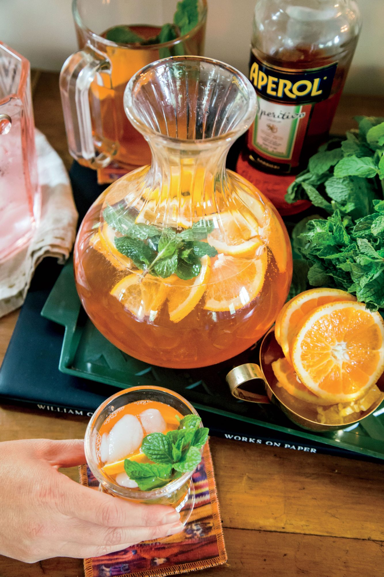 Aperol and Blood Orange-Mint Spritz