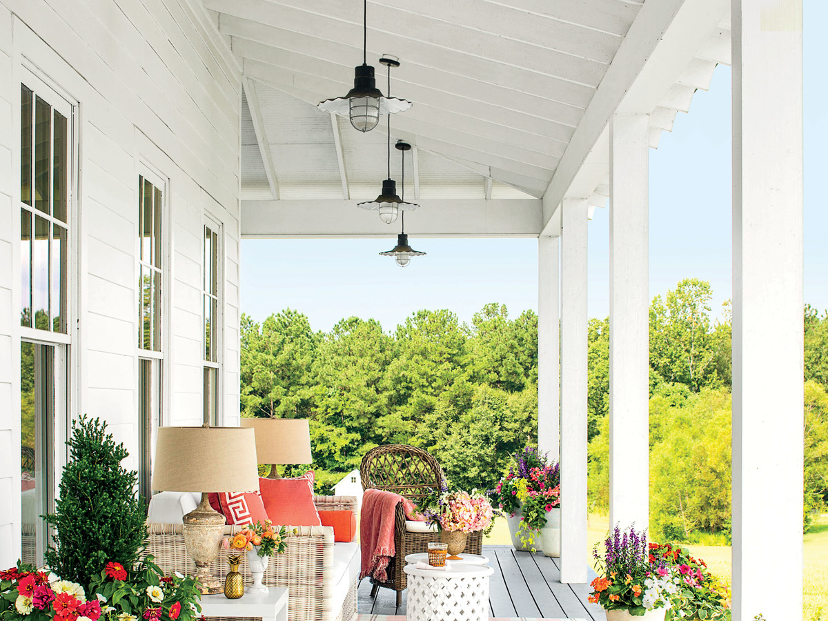 Farmhouse Porch with Colorful Flowers