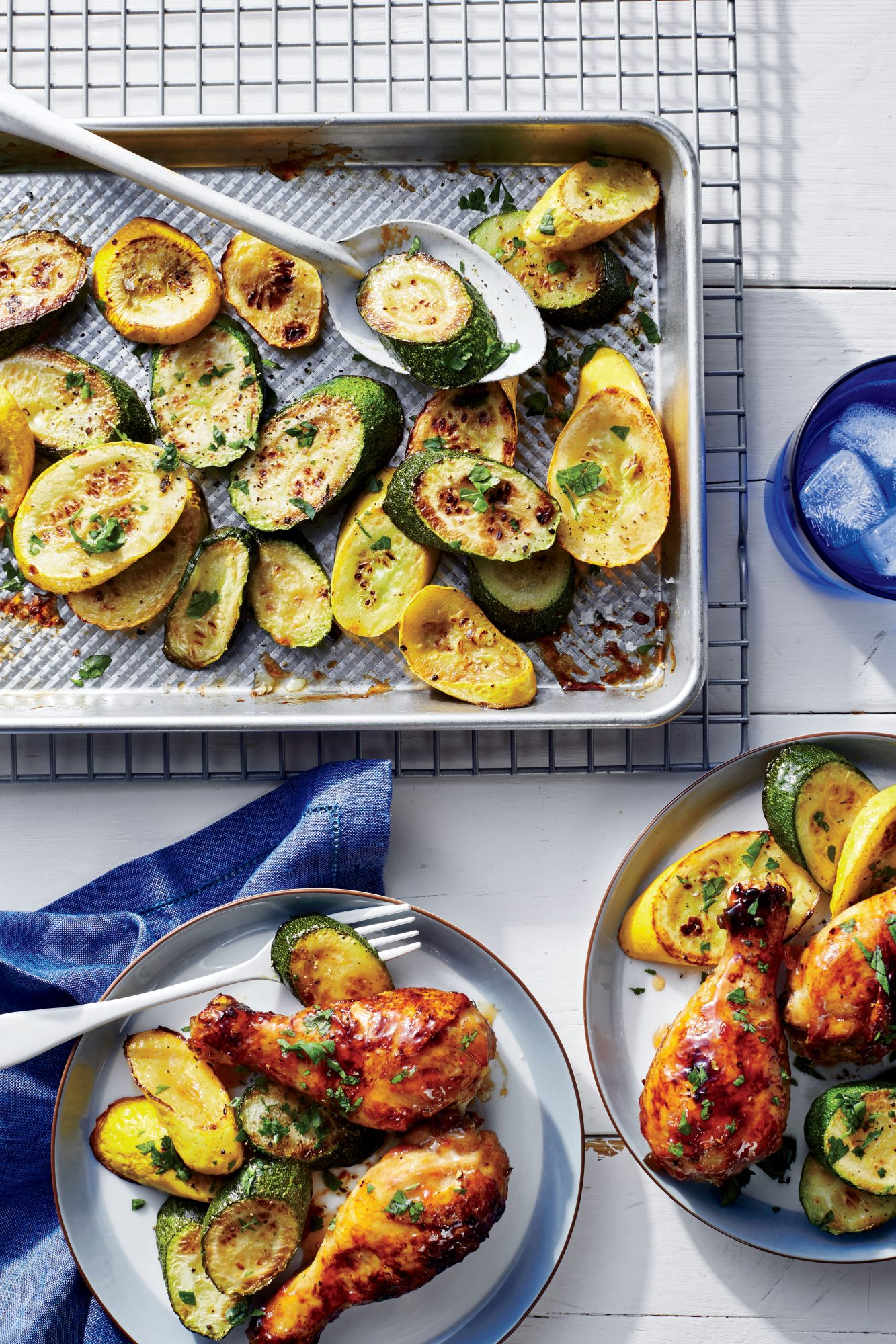 Sweet-and-Spicy Chicken Drumsticks with Squash