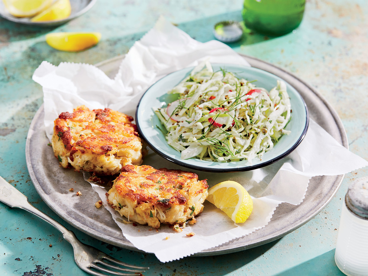 Crab Cakes with Creamy Fennel-and-Radish Slaw