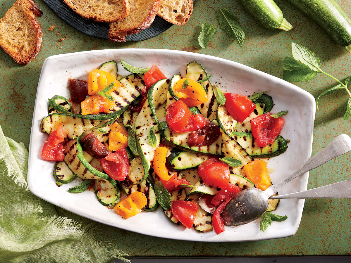 Grilled Zucchini with Tomatoes and Mint