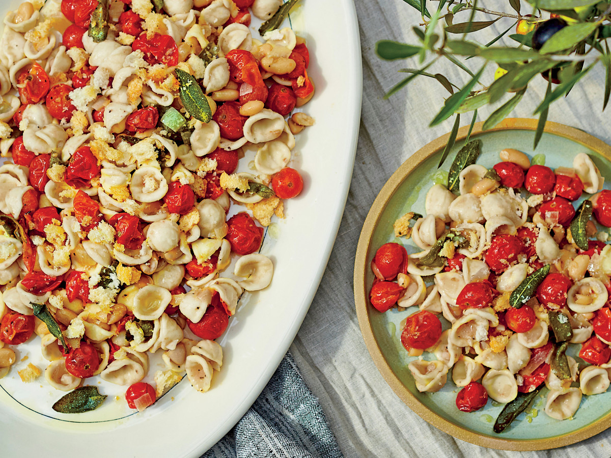 Pasta with Beans, Blistered Tomatoes, and Breadcrumbs