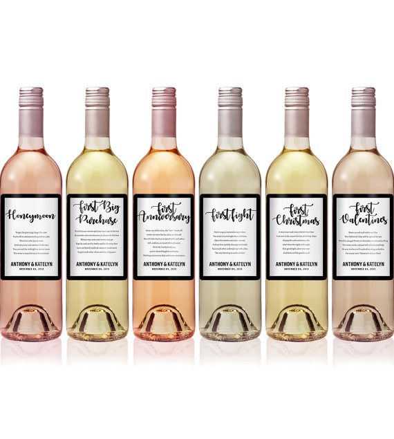 Wedding Milestones Wine Labels
