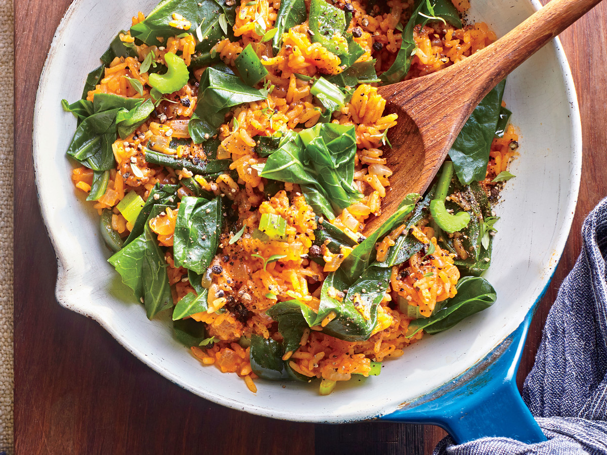 Collard Green Creole Dirty Rice