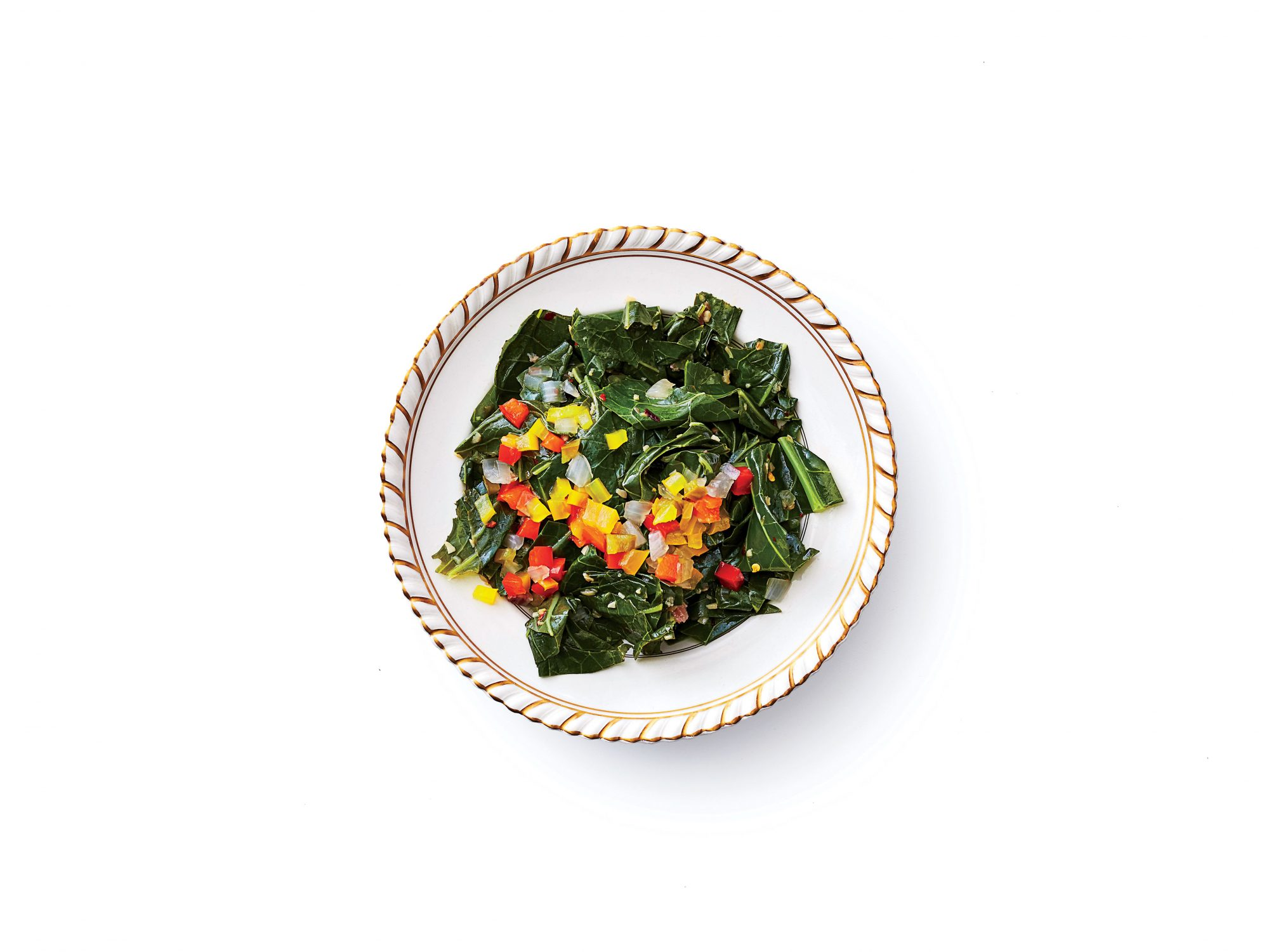 Garlicky Collard Greens with Confetti Chowchow Recipe Image
