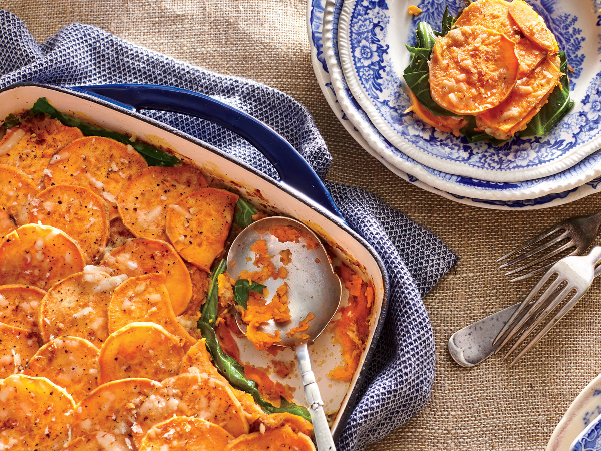 Sweet Potato-and-Collard Green Gratin