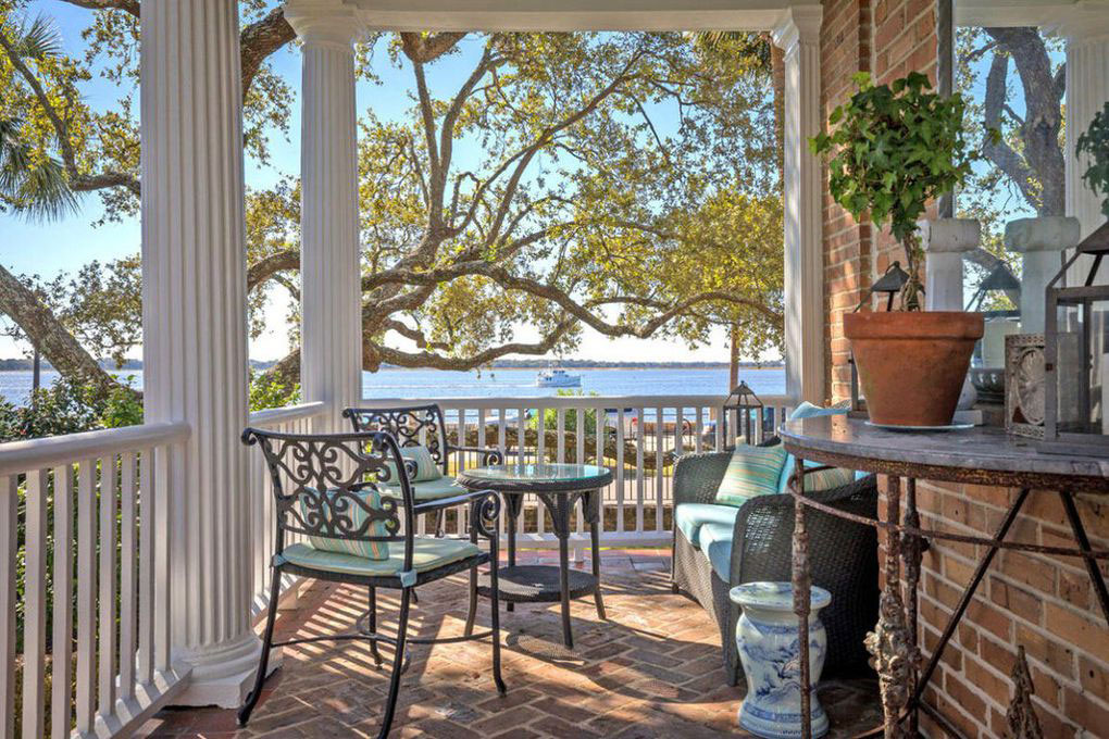 Colonial Brick Home Charleston Side Porch