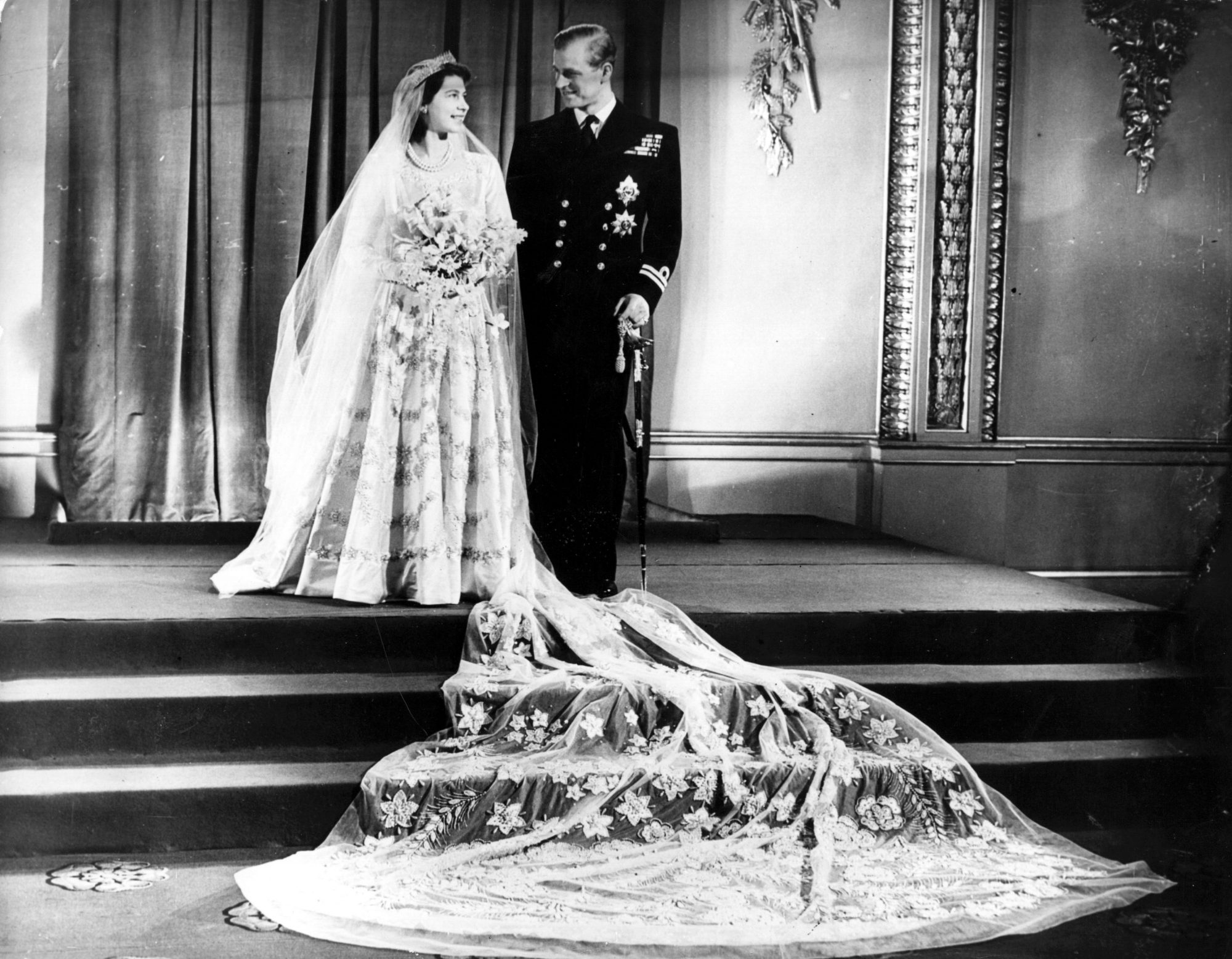 Princess Elizabeth and Prince Philip on Wedding Day