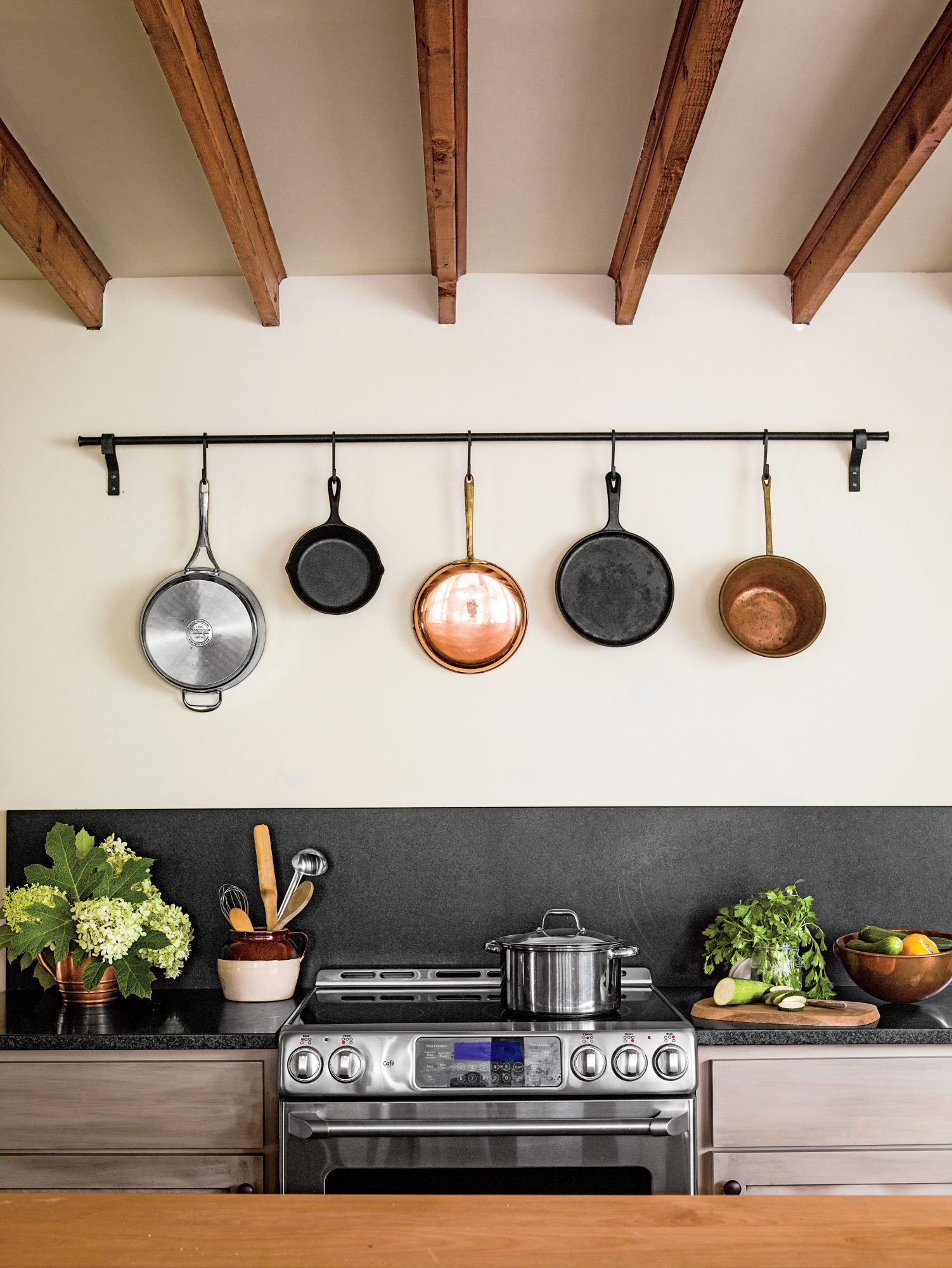 Hanging Pots Over Kitchen Range