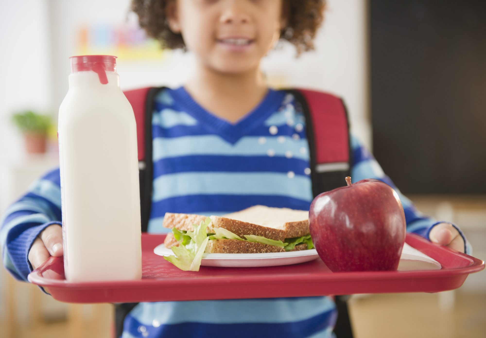 Child with Cafeteria Lunch Tray